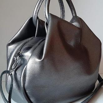 Стильная сумка из натуральной кожи Графитовый