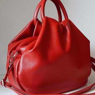 Стильная сумка из натуральной кожи вишневый