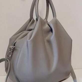 Стильная кожаная сумка для современной женщины серый