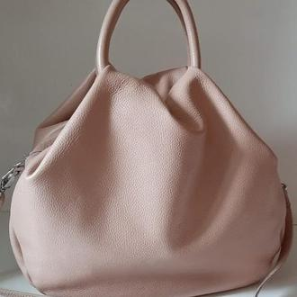 В наличии Удобная кожаная сумка для современной женщины пудровый