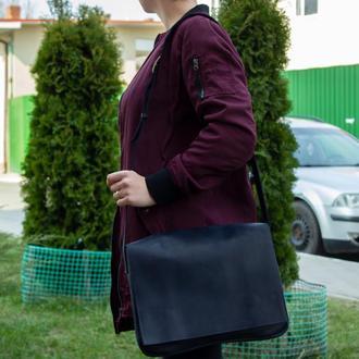 Кожаная сумка на плечевом ремне синяя