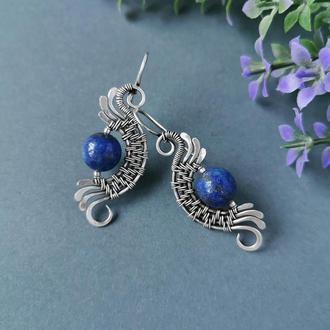 Серебряные серьги с синим лазуритом Крылья дракона. Оригинальный подарок девушке, жене, сестре