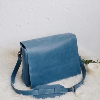 Кожаная сумка на плечевом ремне голубая унисекс