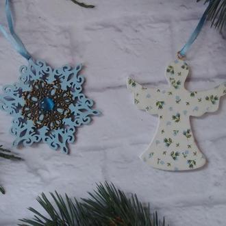 Новогодние елочные игрушки нежный голубой Ангел  в ситчек новогодние игрушки на елку набор