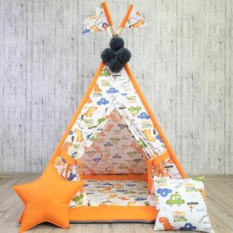 Вигвам палатка для детей ,,Динозавры с машинками,,