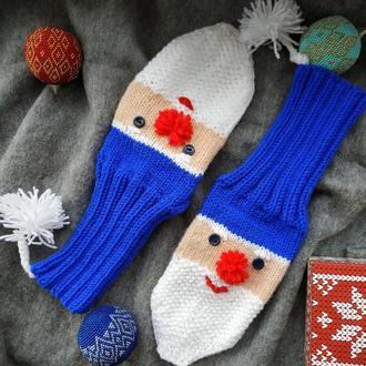 Детские веселые новогодние носочки с Санта Клаусом синие