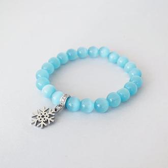 """Новогодний браслет из натуральных камней """"Снежинка"""". Подарок на Новый Год. (модель № 583) JK jewelry"""