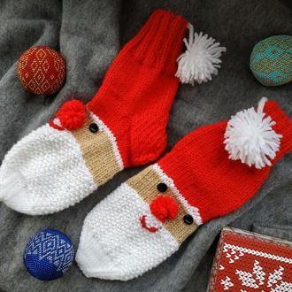 Детские веселые носочки с Санта Клаусом