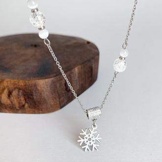 """Новорічна підвіска """"Сніжинка"""" з намистинами гірського кришталю Подарунок дівчині (модель № 584) JK jewelry"""