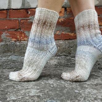Женские теплые вязаные носки с омбре градиентом