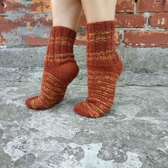 Женские терракотовые вязаные шерстяные носки