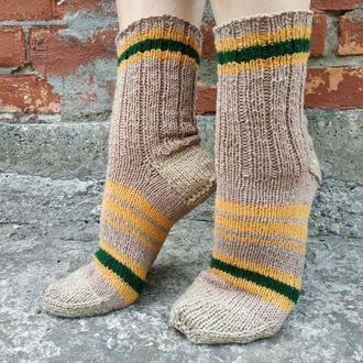 Женские бежевые вязаные носки с полосками