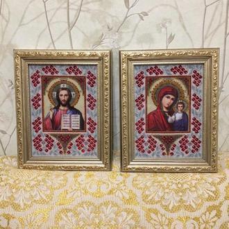 Бисером иконы Казанская + Господь Вседержитель Икона