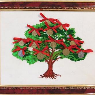 """Картина вышитая крестиком """"Денежное дерево"""""""