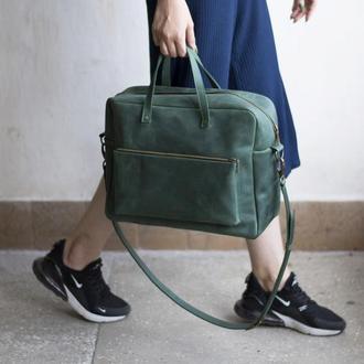 Кожаная сумка мессенджер зеленая