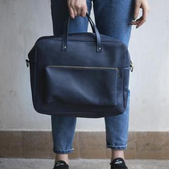 Синяя кожаная сумка мессенджер