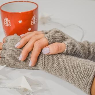 Кашемировые митенки - перчатки без пальцев