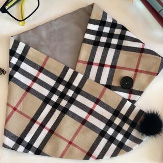 """Шарф """"Париж"""", мини-снуд, шарф на пуговицах, подарок женщине"""