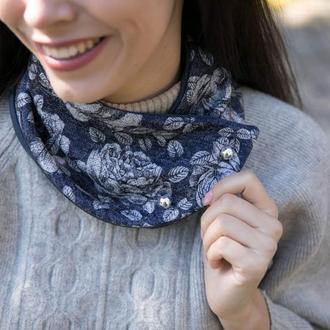 """""""Вена"""" шарф мини-снуд,  шарф, теплый шарф, подарок мужчине"""