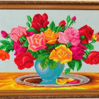 """Картина вышитая крестиком """"Розы"""""""
