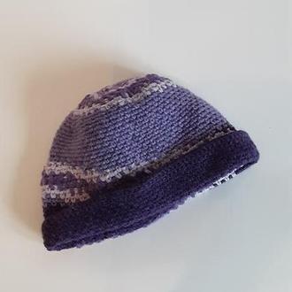 Шапка вязаная зимняя Женская шапка сиреневая Головные уборы для женщин