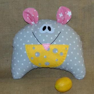 Декоративная подушка Мышка - новогодняя мышка-крыска в подарок