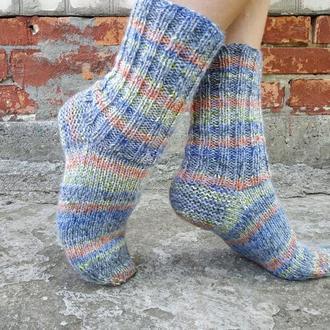 Теплые вязаные носки с мохером в полоску