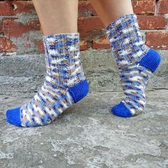 Теплые вязаные шерстяные носки - Сапфир