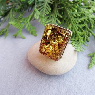 Серебряный перстень с янтарём 2
