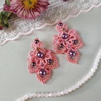 Ажурные розовые серьги