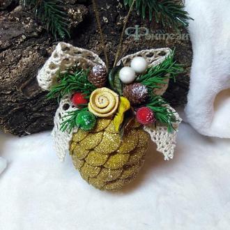 """Новогодняя игрушка """"Шишка"""", на ёлку, новорічна іграшка, елочная игрушка, прикраси на ялинку"""