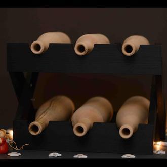 Подставка для бутылок в черном цвете. Стеллаж для вина из дерева.
