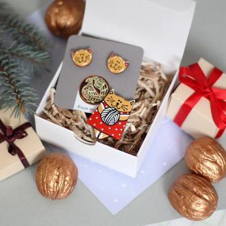 Набор украшений Брошка котик.Серьги гвоздики(серебро)