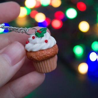 Кулон рождественский кекс, подарок к новогодним праздникам