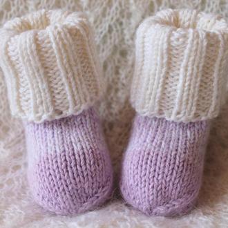 Лавандовые носочки с белой манжетой