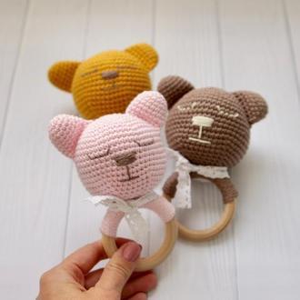 Грызунок на деревянном кольце «Мишка»