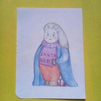 Симпатичная открытка мини. Святой Николай/Санта Николас.