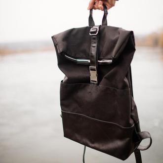 Мужской кожаный рюкзак антидождь (черный) кордура