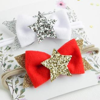 Повязка звездочка для девочки / Детская повязка для малышки