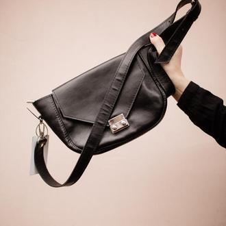 Кожаная сумка через плечо со стильным замком, сумка из натуральной кожи