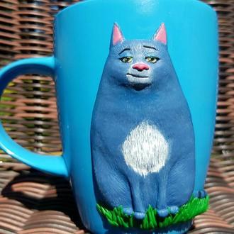 Чашка с декором кружка СОНЯ-ХЛОЯ из полимерной глины