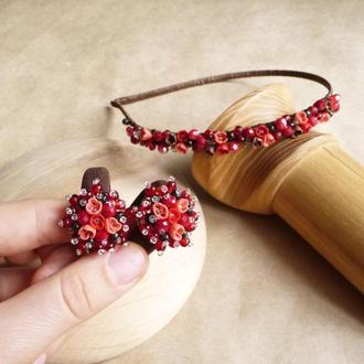 Красный комплект украшений с цветами для девочки, обруч и пара резинок, подарочный набор