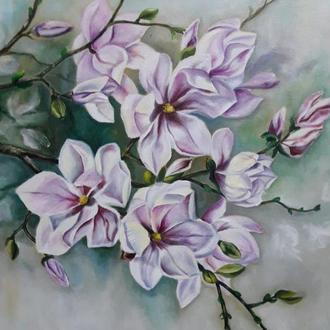 Картина маслом с цветами Магнилия