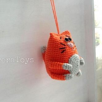 Рыжий кот-подвеска крючком,8 см