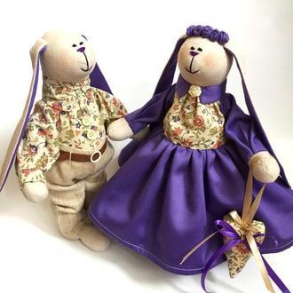 Пара заек тильда Сиреневый вальс семья оригинальный подарок на свадьбу день рождения девушке дочке