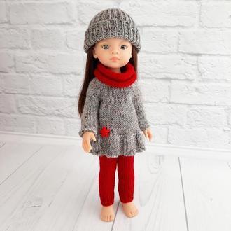 Зимовий в'язаний комплект одягу ка ляльку Паола 32 см, подарунок дівчинці