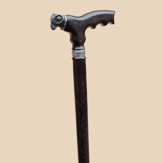 Незвичайна трость для ходьби Баран, різблена з дуба. Стильная палка для ходьбы.