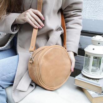Кожаная сумочка через плечо. Круглая  кожаная сумочка Стела.