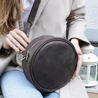 Кожаная сумочка через плечо. Круглая кожаная сумка Стела.