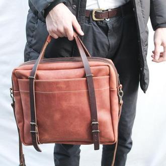 Кожаная мужская сумка через плечо Бизнес сумка.Кожаная для ноутбука .